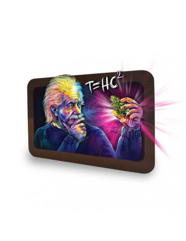 Joint tray V SYNDICATE Holographic illustration EINSTEIN 3D + wood LARGE