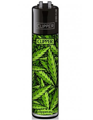 Clipper lighter LEAVES pattern green