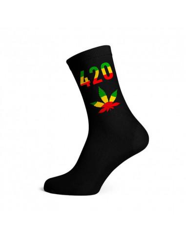 Men's long socks 420, size 40-45 rasta/black